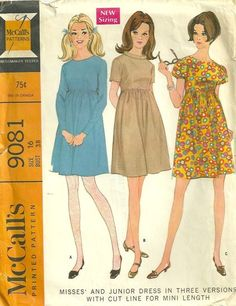 Misses' Dress In Three Versions with Cut Line for Mini Length: High waisted dress with dart fitted bodice and three section gathered skirt, has center back zipper and may be underlined. Dress with long set-in sleeves closed at wrists with zippers, or puff sleeves gathered in armholes with elastic in casings at lower edge, has faced and interfaced rounded neck. Dress with short set-in sleeves has faced and interfaced neck and bias, self fabric, ring collar, padded with piping cord, sewn to…