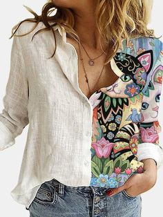 Loose Shirts, Printed Shirts, Long Sleeve Shirts, Mode Style, Shirt Blouses, Red Blouses, Cotton Blouses, Casual Shirts, Women's Casual