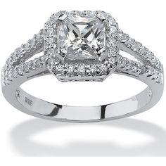 Palm Beach Jewelry PalmBeach 1.63 TCW Princess-Cut Cubic Zirconia... ($66) ❤ liked on Polyvore featuring jewelry, rings, white, platinum engagement rings, cubic zirconia engagement rings, princess cut engagement rings, round cut engagement rings and cz rings
