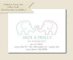 Kids BIRTHDAY PARTY INVITATIONS  twins elephant by TutuRevue, $21.70