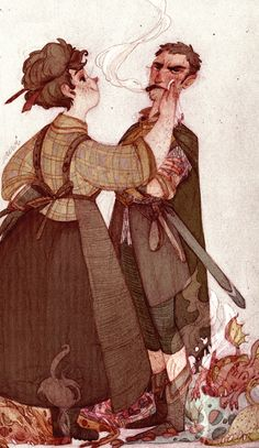 Lady Sybil and Sir Samuel Vimes for http://chechula.tumblr.com/ ^^uhuh..my style isn't very fitting for Discworld ><