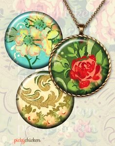 Vintage Wallpaper Flowers - 1 inch circles for pendants, magnets and more -downloadable graphics $3.60 on Etsy