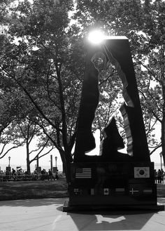 Korean War Memorial by Mac Adams. Dedicated in 1991 to honor military personnel who served in the Korean Conflict.