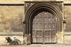The gate of the Bodleian Library in Oxford, England.