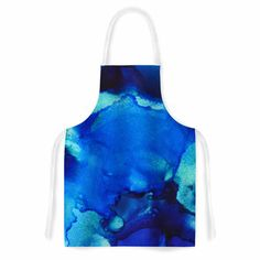 """Claire Day """"Mountain Stream"""" Blue Teal Abstract Painting Artistic Apron from KESS InHouse"""
