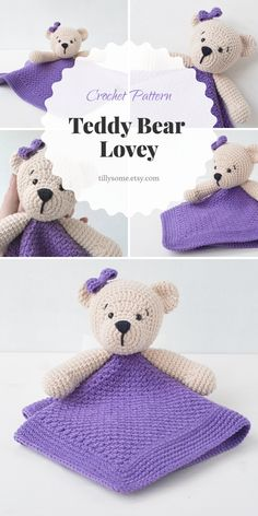 Adorable Teddy Bear lovey is a plush toy and security blanket all in one! Crochet Baby Toys, Crochet Teddy, Crochet Bear, Crochet For Kids, Crochet Dolls, Crochet Security Blanket, Lovey Blanket, Baby Blanket Crochet, Crochet Lovey Free Pattern
