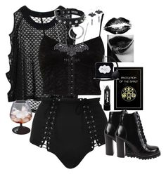 """""""Back I guess?"""" by siennabrown ❤ liked on Polyvore featuring River Island, Fleur du Mal, Victoria's Secret, Jeffrey Campbell, PaintGlow, Dark, goth, vampire, alternative and gothgoth"""