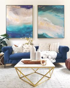 Saint Helena and Labradorite Dream No. 1 48x60 gallery wrapped canvas prints in the stunning home of @kismet_house #art #homedecor