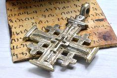 Jerusalem cross,African silver Pendant, large cross Pendant, African Handcraft Jewelry,ethiopian cross,pendant necklace by Shimbra on Etsy