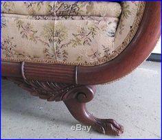 Antique 1920s Duncan Phyfe Claw Feet Camel Back Sofa Goose Neck .