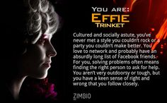 I took Zimbio's 'Hunger Games' personality quiz, and I am Effie Trinket! Who are you?