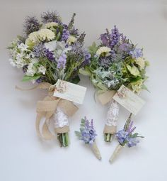 Wildflower Bouquet Package - Bridal Bouquet, Bridesmaid Bouquet, Boutonnieres, Wildflower, Purple, Rustic Wedding Bouquets Purple