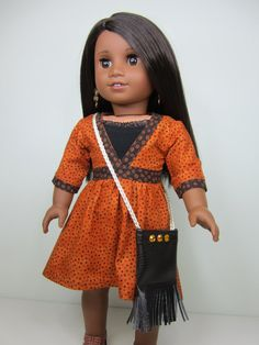 American Girl doll clothes- Killara dress in burnt orange and browns with a black strappy tank with ruffles , crossbody faux leather bag. on Etsy, $29.65