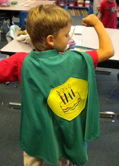 Why didn't I think of that? - Students would LOVE getting to wear a birthday cape on their birthday! I'm not handy with sewing, but I bet this could be created pretty easily! Preschool Birthday, Classroom Birthday, Birthday Bash, Birthday Ideas, Birthday Crowns, Birthday Gifts, Happy Birthday, Superhero Classroom Theme, Kindergarten Classroom