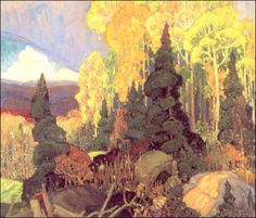 Exhibition: 'Painting Canada: Tom Thomson and the Group of Seven' at the Dulwich Picture Gallery, London – Art Blart Emily Carr, Canadian Painters, Canadian Artists, Landscape Art, Landscape Paintings, Franklin Carmichael, Dulwich Picture Gallery, Art Gallery Of Ontario, Wow Art