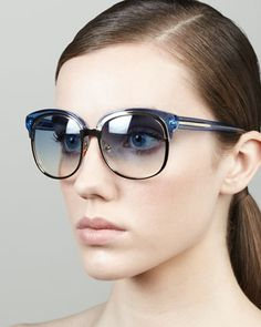 Runway Style Round Sunglasses, Blue by Gucci at Bergdorf Goodman.