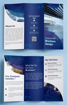 Modern and creative Trifold Brochure Templates with elegant design. All brochure templates are designed with a professional theme and multipurpose business. Company Brochure Design, Brochure Design Layouts, Graphic Design Brochure, Corporate Brochure Design, Business Brochure, Brochure Template, Flyer Template, Brochure Ideas, Layout Design
