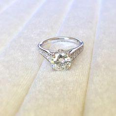 7.5mm Charles & Colvard FOREVER BRILLIANT Moissanite & Diamond Set 14KW Gold Ring 2.51 Carat Total Weight