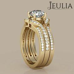 Interchangeable Yellow Gold Round Cut Created White Sapphire Wedding Set