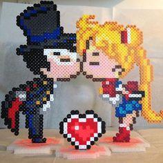 Tuxedo Mask and Sailor Moon perler beads by lizdejesus23 (Design by geekmythologycrafts)