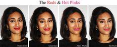 Love Naheeda: NYX SOFT MATTE LIP CREAM SWATCHES - reds & Hot Pinks Nyx Cosmetics Lipstick, Lipstick Swatches, Lipsticks, Nyx Soft Matte Lip Cream, Olive Skin, Tan Skin, Eyeshadow Looks, Beauty Bar, Lip Colors