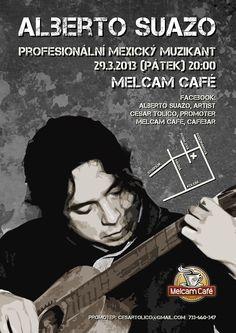 Caffe, Melcam, Bar, Poster, Mexico, Musician, Guitar