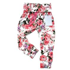 Buttery Soft Baby Leggings Pink Floral Baby by BabyWhimsyClothing
