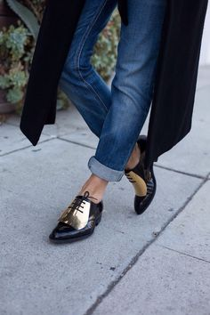 black and gold oxfords #shoes