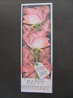 Large Dl Birthday Roses in a Box Quick Card 3D Decoupage on Craftsuprint created by Angela Styles - This certainly makes a whoppa of a card so just right for a special birthday!I mounted the main image on to a card blank that I had folded myself to size.I then added the cut out decoupage with foam pads.I just added a green card candi for the tag.
