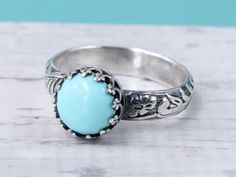 Turquoise ring sterling silver vintage style by SilverStamped