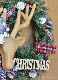 diy christmas reindeer and plaid wreath14 - See more beautiful DIY Chrsitmas Wreaths at DIYChristmasDecorations.net!