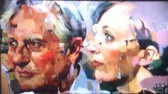 Christian Hook semi-final Sky Arts Portrait Artist of the Year. Richard Dawkins & Sally Hitchener