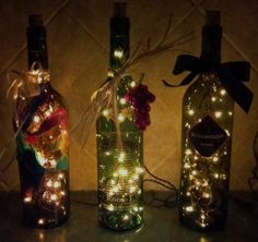 DIY Christmas lights in wine bottles