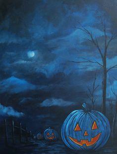 Night Pumpkins ORIGINAL ACRYLIC PAINTING by ArquebusStudios, $120.00