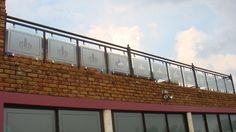 Restaurant balcony with glass balustrade provides perfect opportunity for branding, logo's and advertising. Shop windows & glass doors work too! Frosted Glass Design, Glass Balustrade, Shop Windows, Glass Doors, Track Lighting, Decor Styles, Balcony, Opportunity, Advertising