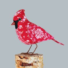 Fabric Bird NORTHERN CARDINAL  Made to Order by TheCottonPotter, £50.00