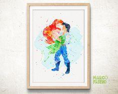 Ariel and Eric - Watercolor Art Print, Room Decor, Disney Little Mermaid Poster, Home Baby Nursery Wall Art