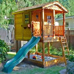This playhouse with slide is the ultimate backyard playhouse! Our cedar sunflower playhouse with sandbox is sure to impress you kids & your neighbors!