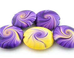 Focal Beads Swirl Beads Polymer Clay in Purple And Yellow - Set of 5