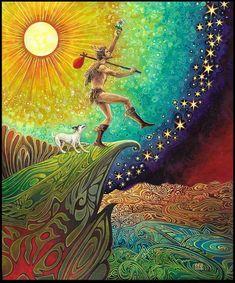 L'imbécile Tarot Art Nouveau Original peinture psychédélique déesse Art