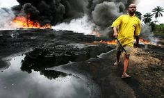 A picture that has become too common in Nigeria, due to the constant spills caused by Royal Dutch Shell - Boycott Shel