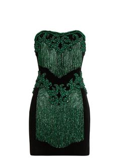 Balmain Bead-embellished strapless velvet dress