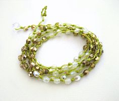 White and Gold Boho Wrap Bracelet Lime Green Cord by KrystenDesign, $45.00