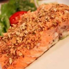Mustard-Baked Salmon w/Pumpkin Seed Crust - can use other nuts too