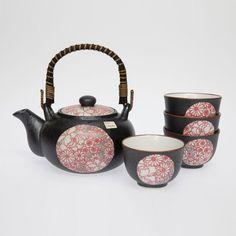 Shinshiki Red Tea Set *4 Cups