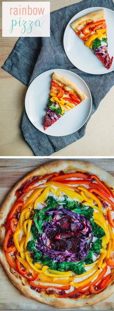 Bring a pot of gold to the table with this delicious (and incredibly healthy) rainbow veggie pizza. It's a great way to eat healthy while still getting a taste of the rainbow. #RainbowPizza