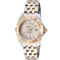 Breitling Women's Galactic 32 Two-Tone Stainless Steel Beige Dial Ss... ($5,254) ❤ liked on Polyvore featuring jewelry, watches, breitling, rose watches, two-tone watches, water resistant watches and 18k watches