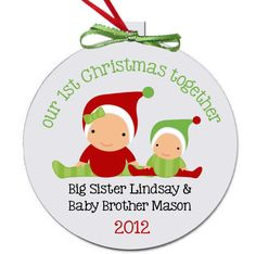 baby's first christmas ornament personalized for the whole family - brothers and sisters and all. $18.50, via Etsy.