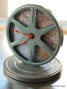 Here's a fun and easy weekend craft using a vintage film reel, a map and a craft store clock movement. I had this film reel in its can sitting around for over a year knowing… Clock Vintage, Vintage Alarm Clocks, Big Clocks, Wall Clocks, Movie Reels, Film Reels, Make A Clock, Video Game Rooms, Weekend Crafts