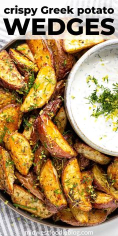 Greek Potato Wedges with Yogurt Sauce These potatoes wedges are loaded with all your favorite Mediterranean spices and served with a cool, creamy yogurt sauce! Greek Recipes, Side Dish Recipes, Dinner Recipes, Vegetable Recipes For Dinner, Potato Dishes, Potato Recipes, Vegetarian Recipes, Cooking Recipes, Healthy Recipes